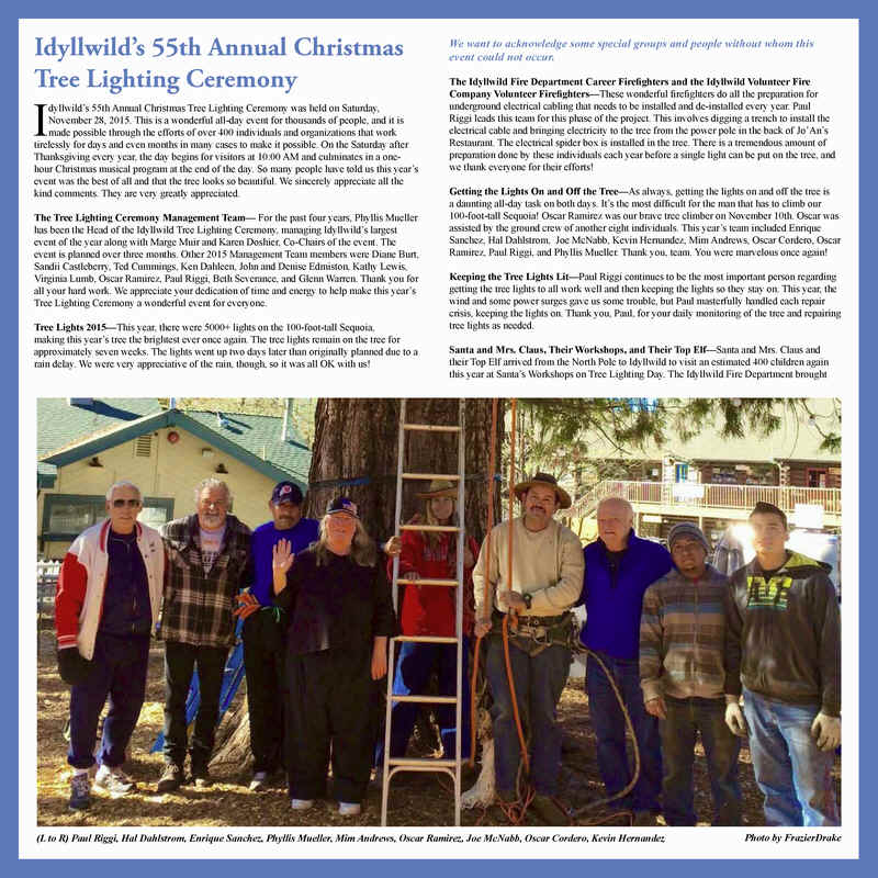 2016 Calendar from the Office of the Mayor of Idyllwild